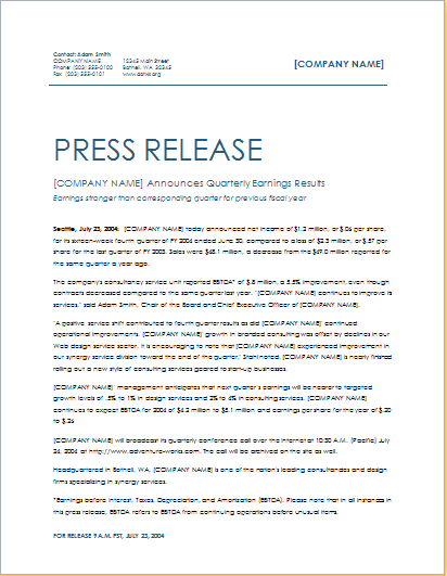 Quarterly Earning Press Release Template Word Excel Templates