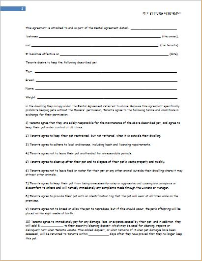 Tenant pet keeping contract