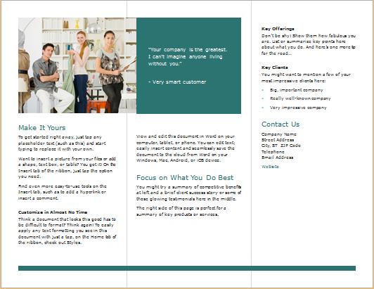 Tri fold brochure for Word