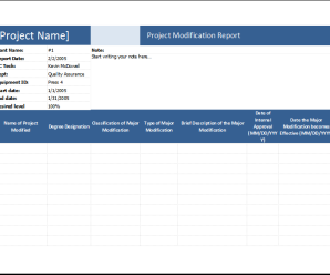 Product Modification Report Spreadsheet