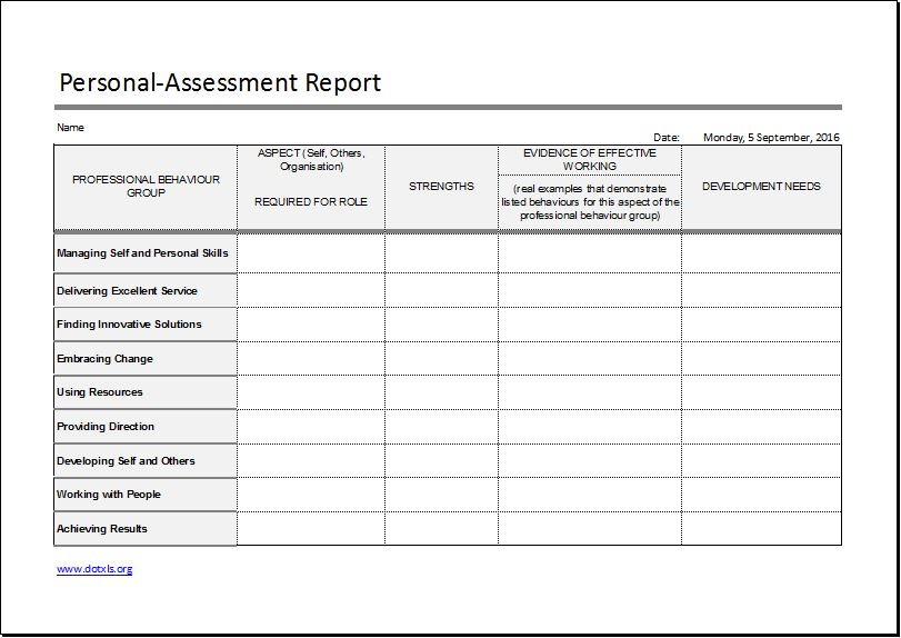 Personal assessment report