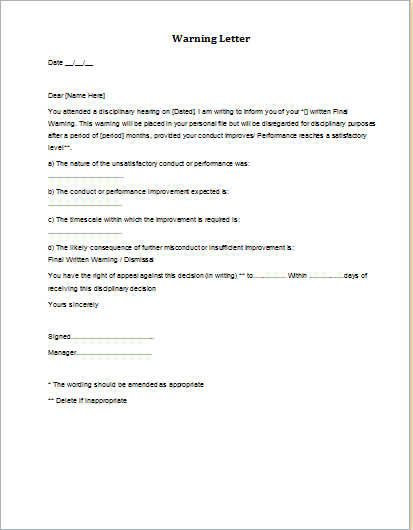 5 Warning Letter Sample Templates Word Amp Excel Templates