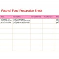 Festival Food Preparation Sheet