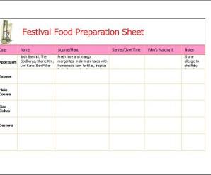 Festival Food Preparation Sheet