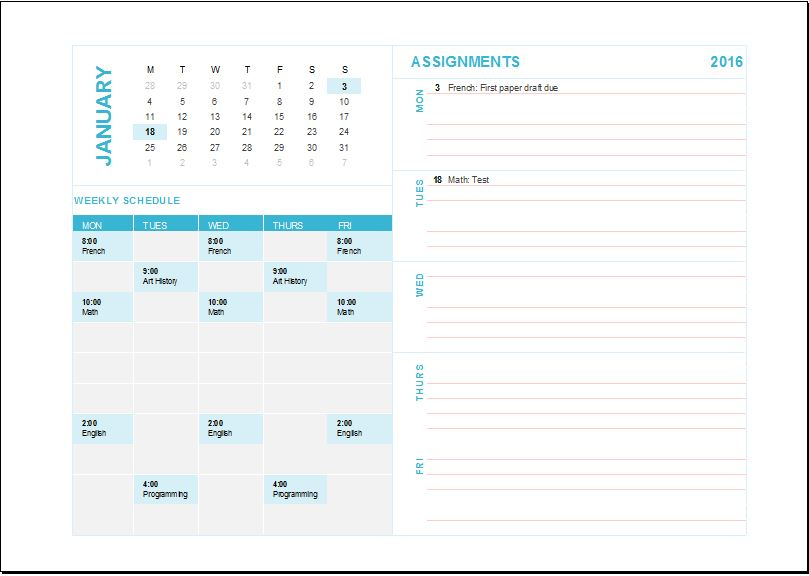 Homework assignment planner template for EXCEL