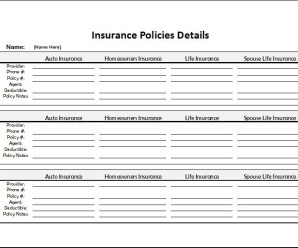 Insurance Policies Record sheet