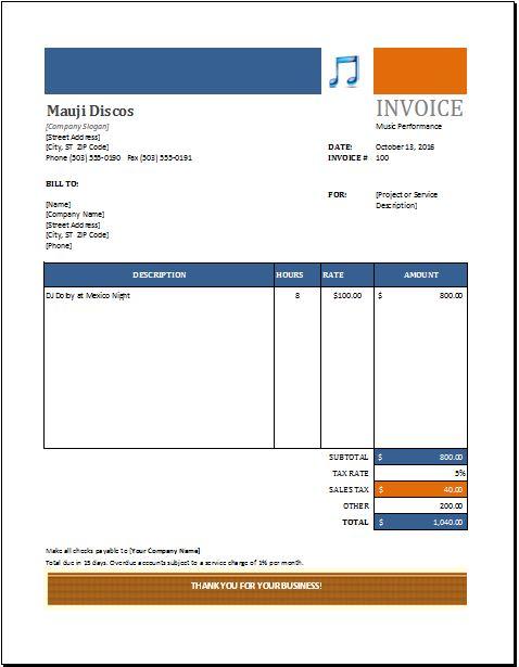Music Performance Invoice