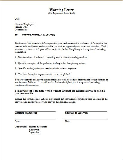 5 Warning Letter Sample Templates Word Excel Templates