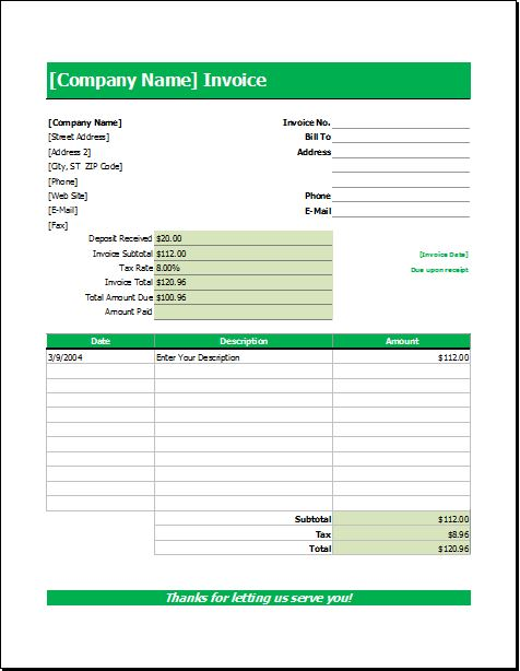 Wedding Services Invoice for EXCEL