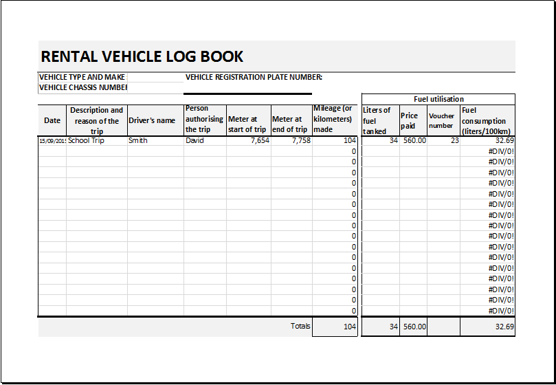 Car Rental Record Sheet