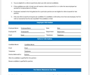 Employee Referral Form Templates