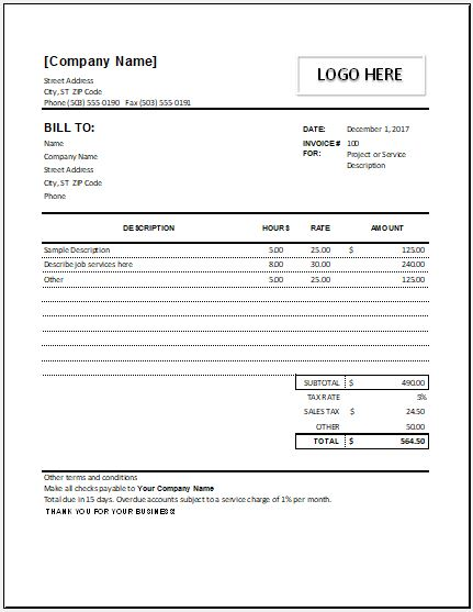 Hourly Service Invoice