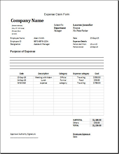 Expense claim form template for Excel