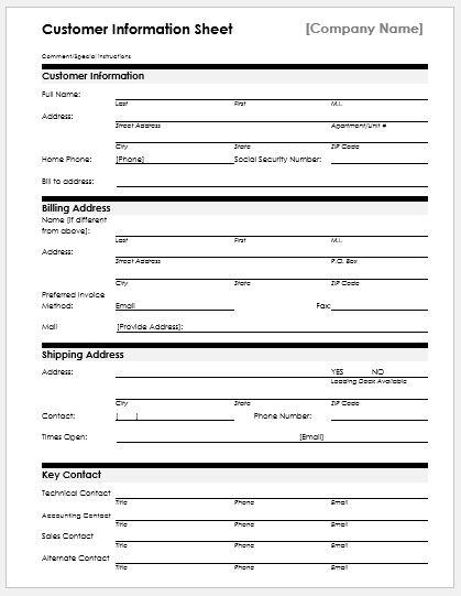Client Information Sheet