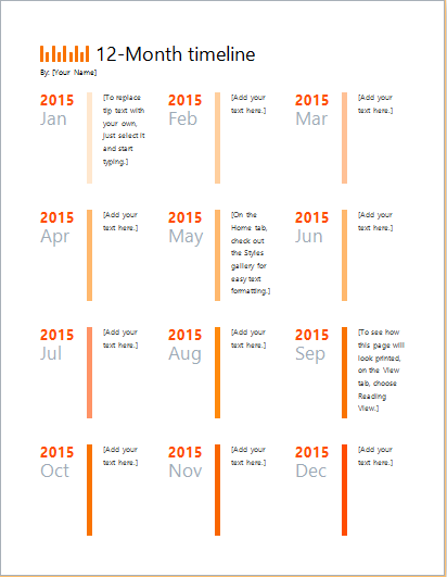 1 year timeline template for Excel