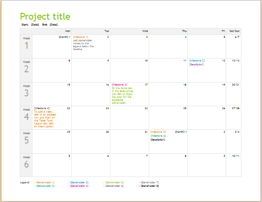 Project planning timeline template for Excel