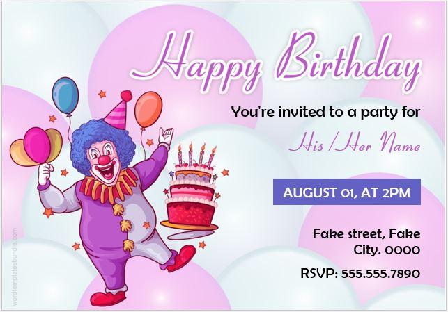 Invitation card sample for birthday