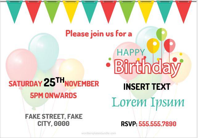 Card for Birthday Invitation