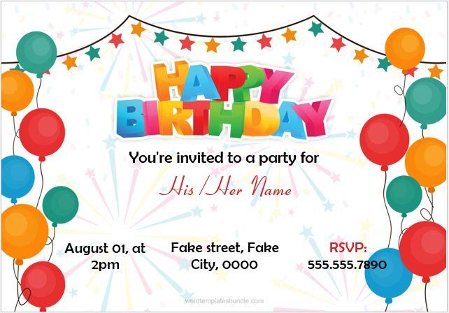 Sample card for birthday invitations