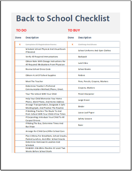 Back-to-school Checklist Template for Excel
