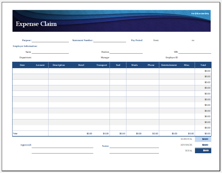 Expense Claim Sheet for Excel