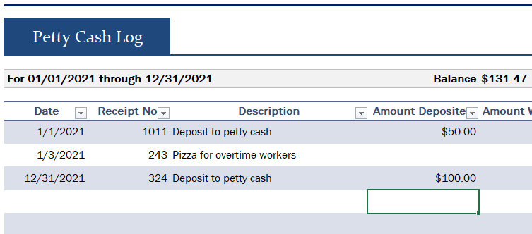 Petty Cash Log Sheet for Small Business