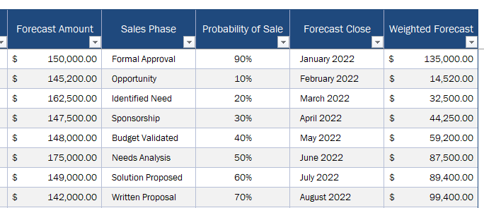 Sales Forecast Tracker for Small Business