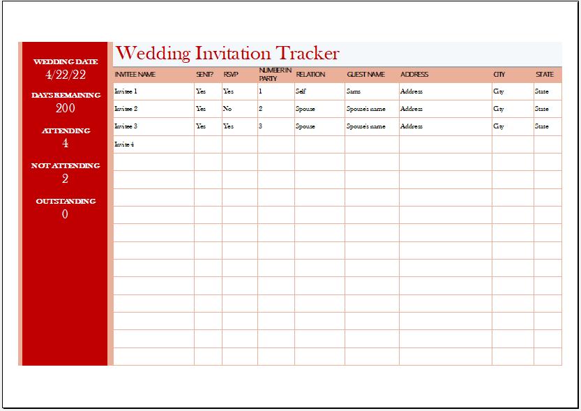Wedding Invitation Tracker for Excel